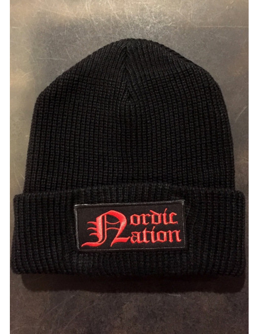 Nordic Nation Knitted Hat BlackNRed