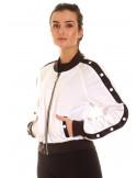 Button Up Track Jacket WhiteNBlack