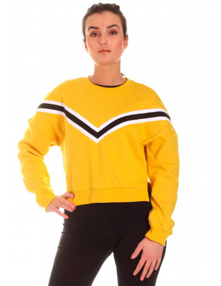 Inset Striped Crew Top Honey