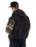 BSAT Winter Jacket BlackNCamo Woodland