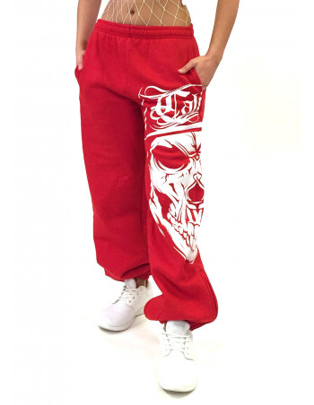 Cali Skull Sweatpants RedNWhite by BSAT