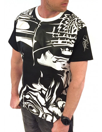 BSAT Graffiti Skull Tee BlackNWhite