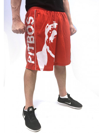 Pitbos Shorts Dog Logo RedNWhite