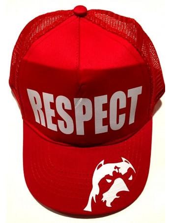 Pitbos Dog Respect Cap Mesh RedNWite