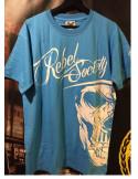 BSAT Rebel Society Skull T-Shirt Skyblue