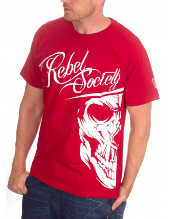 BSAT Rebel Society Skull T-Shirt Red