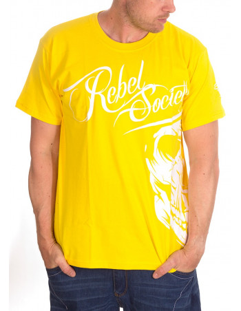 BSAT Rebel Society Skull T-Shirt Yellow