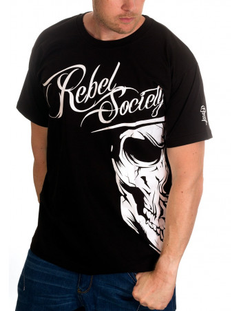 BSAT Rebel Society Skull T-Shirt Black