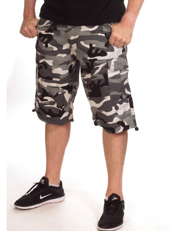 BSAT Camo Baggy Fit Cargo Shorts Urban Ice