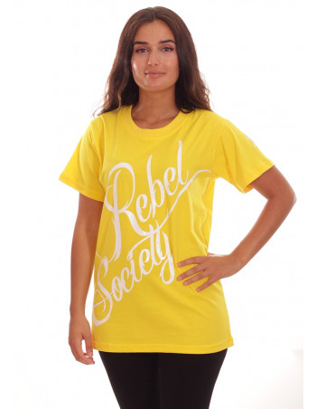 Rebel Society T-Shirt YellowNWhite by BSAT