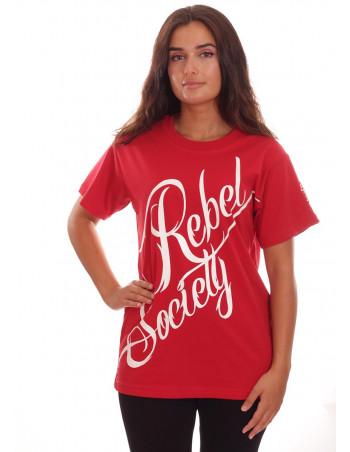 Rebel Society T-Shirt RedNWhite by BSAT