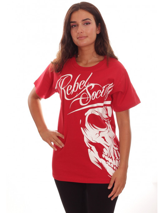 Rebel Society Skull T-Shirt Red by BSAT