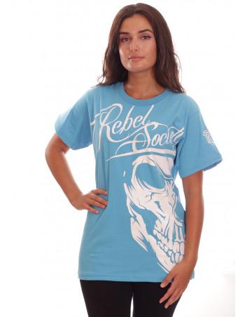 Rebel Society Skull T-Shirt Skyblue by BSAT