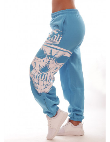 Cali Skull Sweatpants SkyblueNwhite by BSAT