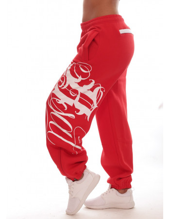 Red Art Script Sweatpants by BSAT