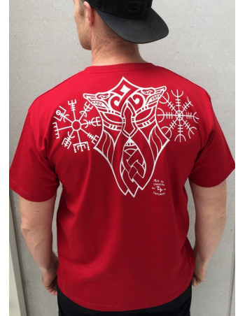 Vegvisir T-Shirt Red By Nordic Nation Premium Cotton