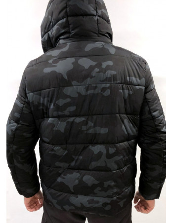 Hooded Dark Camo Puffer Jacket