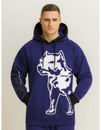 Amstaff Dog Logo Hoodie Blue