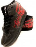Rebel Society Skull Sneakers by BSAT BlackNRed