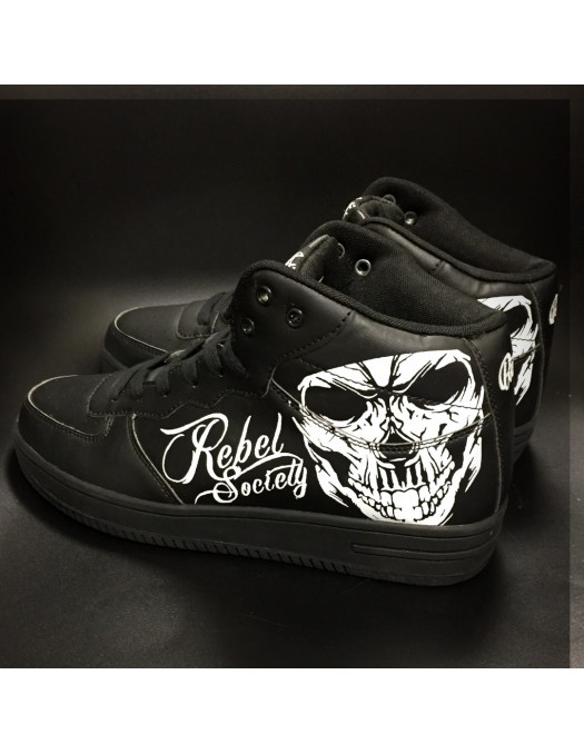 Rebel Society Skull Sneakers by BSAT BlackNWhite