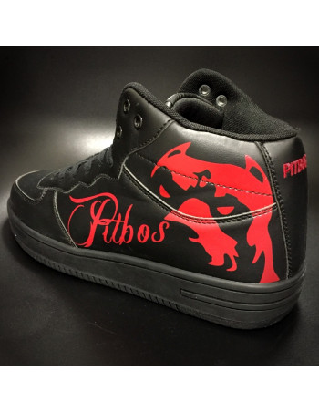 Pitbos Dog Street Sneakers BlackNRed