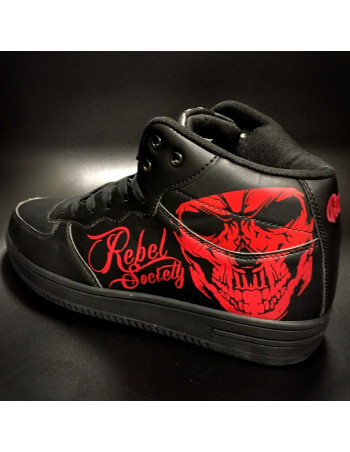 Rebel Society Skull Sneakers by BSAT BlackNRed