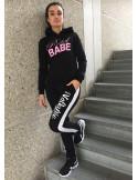 RebelBabe Hoodie BlackNPink by BSAT