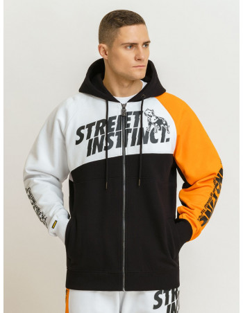 Street Instinct ZipHoodie White, Black and Orange