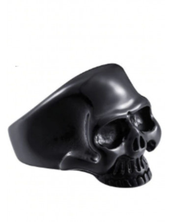 Skull Ring Happy Black