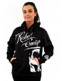 Rebel Society Skull Hoodie Black Fem
