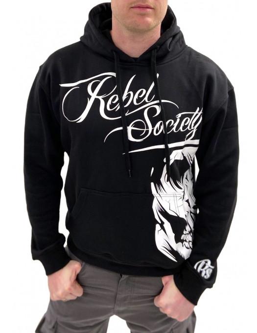 Rebel Society Skull Hoodie Black