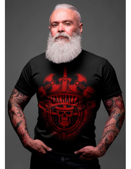 Valhalla Red Front T-shirt by Nordic Nation Premium Cotton