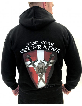 Støt vore Veteraner Hoodie Black Back by Nordic Nation