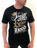 Rebels Hood T-Shirt Black/Gold/White  by BSAT Premium Cotton