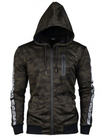 TechWear Track Jacket Woodland Camo Hooded