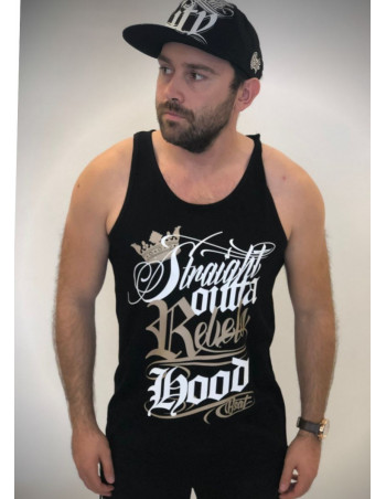 Rebels Hood Tanktop Black/White/Gold by BSAT