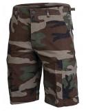 Techwear shorts Ripstop Washed Woodland Camo