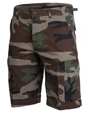 Techwear shorts Ripstop Washed Woodland Camo