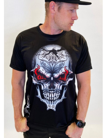 BSAT Skull on Fire T-Shirt Black