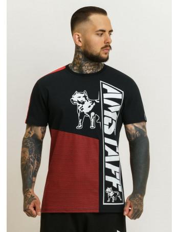 Striped Dog Logo T-Shirt BlackNRed by Amstaff