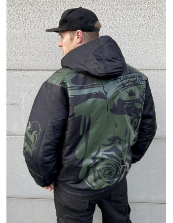 Street Art Winter Jacket BlackNGreen by BSAT