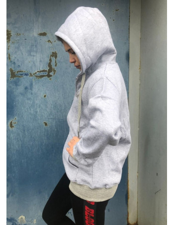 BSAT Womans Plain Zip Hoodie Grey