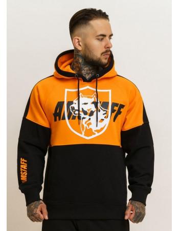 Amstaff Dog Logo Hoodie OrangeNBlack