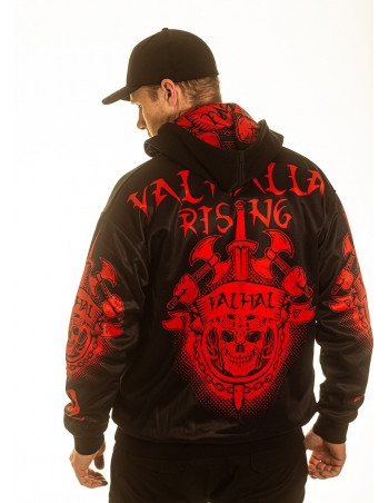 Valhalla Rising ZipHoodie BlackNRed by Nordic Nation Premium Collectors Edition