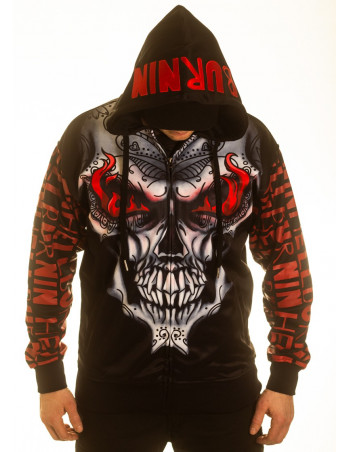 BSAT Burnin' Skull El Barrio ZipHoodie