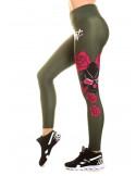 Rose Skull Leggings Olive by BSAT