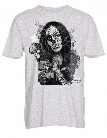 Chica Day of the Dead T-Shirt AshGrey