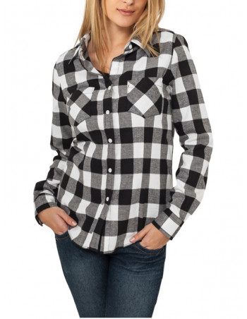 Urban Classics Ladies Checked Flanell Shirt blk/wht