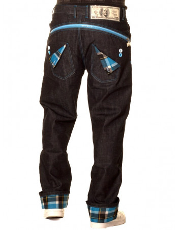 Dirty Money Baggy Zip Arc Check Blue Jeans