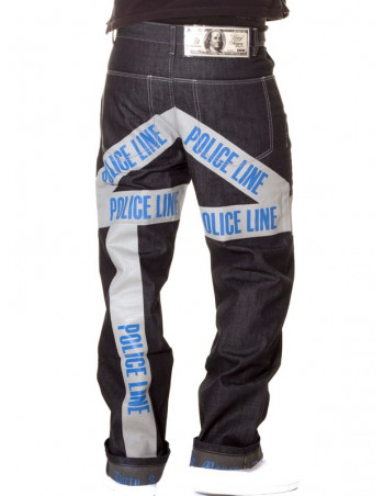 Dirty Money Baggy Police Line Jeans
